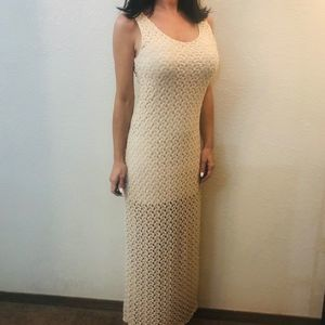 {Forever 21} crochet cream long maxi dress M